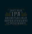hollow serif font and ornament vector image
