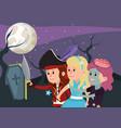kids and halloween custome vector image