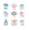 kids club and toyshop logo design set emblems vector image vector image