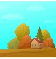 Landscape House in Autumn Forest Low Poly vector image
