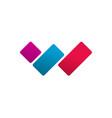letter w logo concept red blue violet vector image vector image