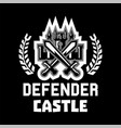 logo defender castle fortress tower cross vector image