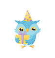lovely blue owlet in a party hat with gift box vector image vector image