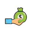 man hand with bag with cash money vector image vector image