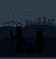 mary joseph and baby jesus silhouette design vector image