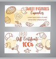 pastry gift voucher bakery horizontal banners vector image