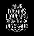 pawr means i love you in dinosaur lettering design vector image vector image