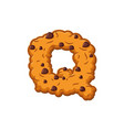 q letter cookies cookie font oatmeal biscuit vector image vector image