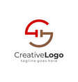 red brown abstract circular initial letter g and s vector image vector image