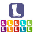 rubber boots icons set vector image vector image