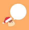 santa claus head with chat bubble speech merry vector image