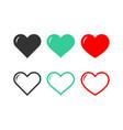 set heart icons love symbol romance vector image