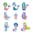 set mermaids women and man with jellyfish vector image