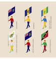 set of people with flags of caribbean countries vector image vector image