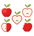 set of red apple fruit with green leaf icon on vector image