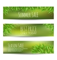 Set of summer sale banners with green leaves vector image