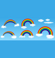 set realistic rainbow or rainbow with blue sky vector image vector image