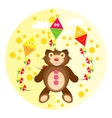 Teddy bear on a yellow background vector image vector image
