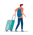 tourist with luggage man tourist in mask vector image vector image