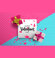 valentines day 3d pink love layout greeting card vector image vector image