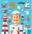 vintage flat design modern nautical marine comp vector image