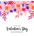 watercolor valentine floral background vector image