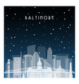 winter night in baltimore night city in flat vector image vector image