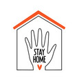 with outline house human hand red heart vector image vector image