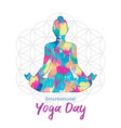 yoga day card woman in lotus pose vector image vector image