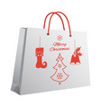 christmas shopping bag with a printed pattern of vector image
