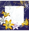 Abstract greeting card floral blooming lilies