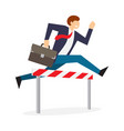 achieving goal businessman jumping over hurdle vector image