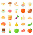 afternoon snack icons set cartoon style vector image vector image