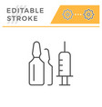 ampoule editable stroke line icon vector image vector image