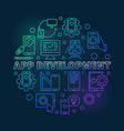 app development round colored outline vector image vector image