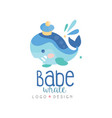 babe whale logo design emblem can be used for vector image vector image