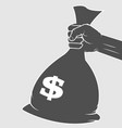 big sack of money with dollar sign in hand icon vector image
