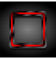 black and red glossy hi-tech geometric square on vector image vector image