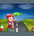 boys in raincoat running on road vector image vector image