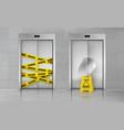 broken elevator closed for repair realistic vector image vector image