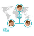 call center character global world connection vector image
