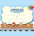 certificate template with kids skating vector image vector image