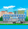 city police station building car tree cityscape vector image