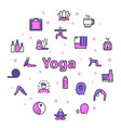 color linear icon round set yoga and vector image