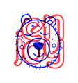 colorful doodle bear in trendy style little vector image