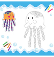 Coloring book jellyfish vector image vector image