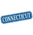 connecticut blue square grunge retro style sign vector image vector image