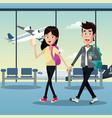 couple traveler tickets airport vector image vector image