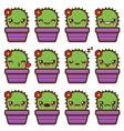 cute cactus emoticons vector image vector image