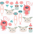 cute monsters seamless pattern it is located in vector image vector image